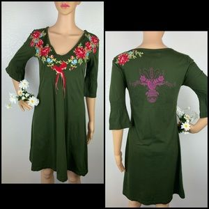Johnny Was JWLA Embroidered Pullover Tunic Dress